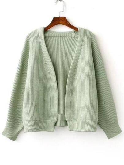 Green Open Front Drop Shoulder Ribbed Chunky Sweater Coat