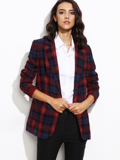 Red And Navy Open Front Tartan Blazer