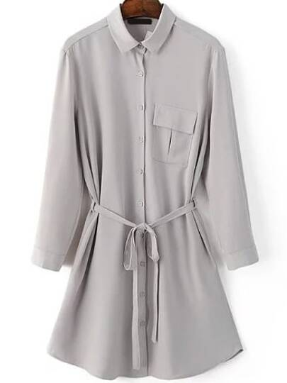 Grey Three Quarter Length Sleeve Self Tie Pocket Shirt Dress