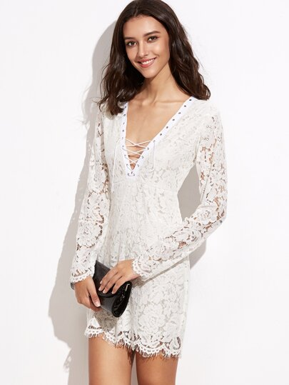 White Deep V Neck Crochet Lace Overlay Sheath Dress