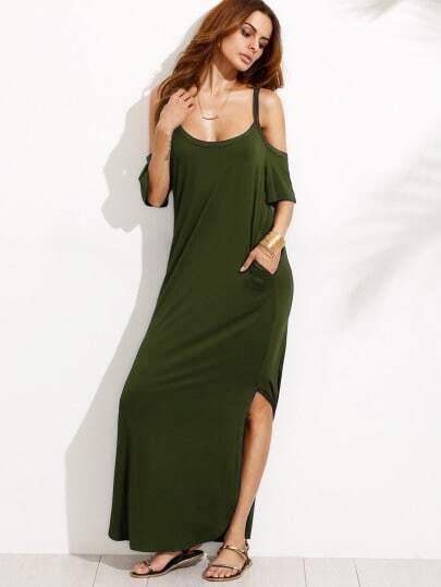 Bolsillo de bolsillo del ejército verde frío hombro partido maxi vestido
