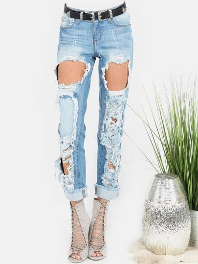 Light Washed Destroyed Mom Jeans DENIM