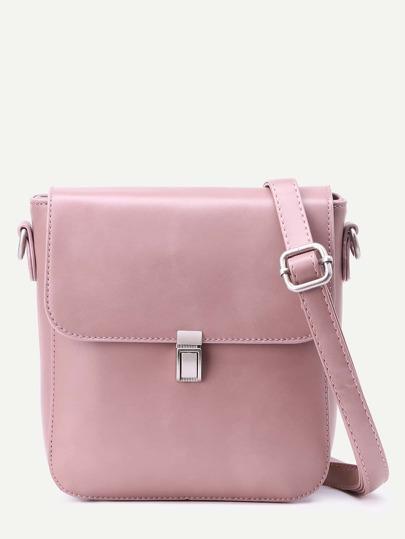 Pink Faux Leather Messenger Bag