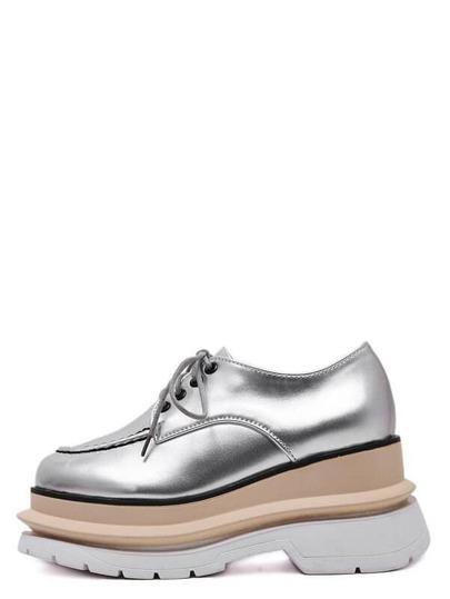 Schuhe Karree Zehen mit Schnürband - silber