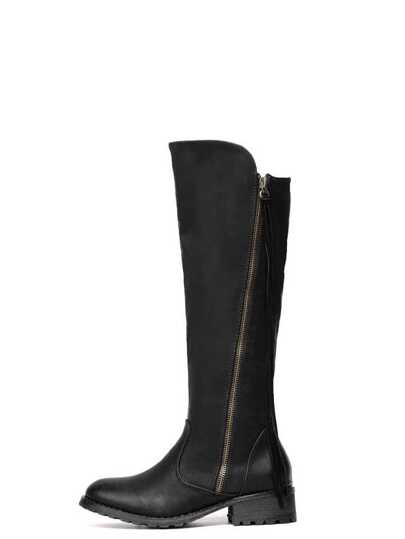 Black Faux Leather Side Zipper Knee High Boots