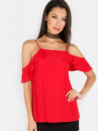 Ruffled Open Shoulder Cami Top RED