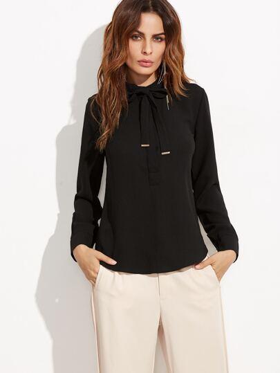 Black Tie Neck Curved Hem Shirt