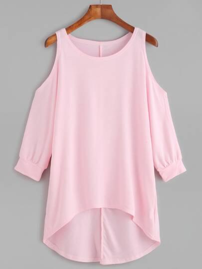 Pink Open Shoulder High Low T-shirt