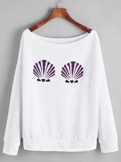 White Shell Print Drop Shoulder Sweatshirt