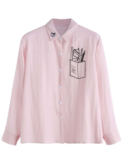 Pink Embroidered Button Front Shirt