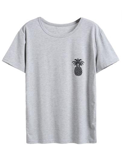 Grey Pineapple Print T-shirt