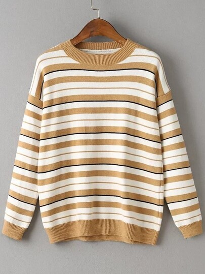 Khaki Striped Crew Neck Drop Shoulder Sweater