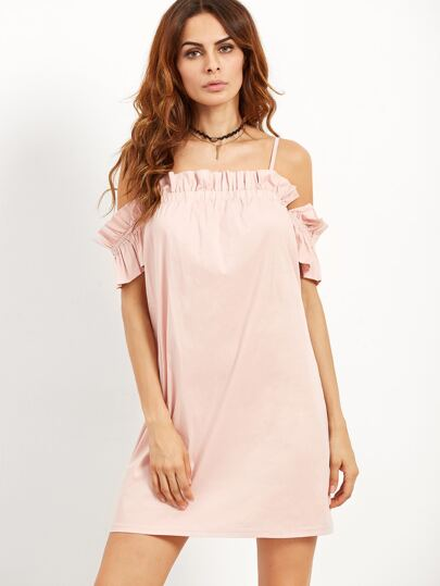 Pink Cold Shoulder Ruffle Dress