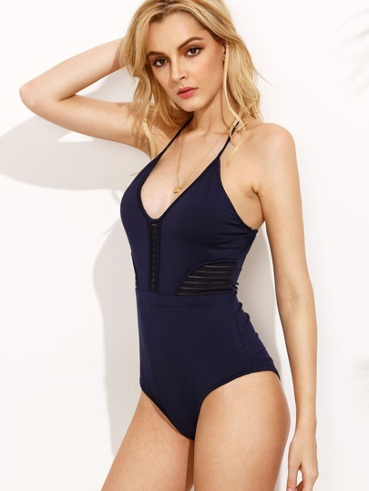 Royal Blue Deep V Neck Ladder Cutout One Piece Swimwear