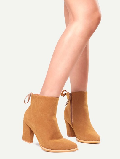 Camel Pointed Toe Side Zipper Lace Up Back Boots