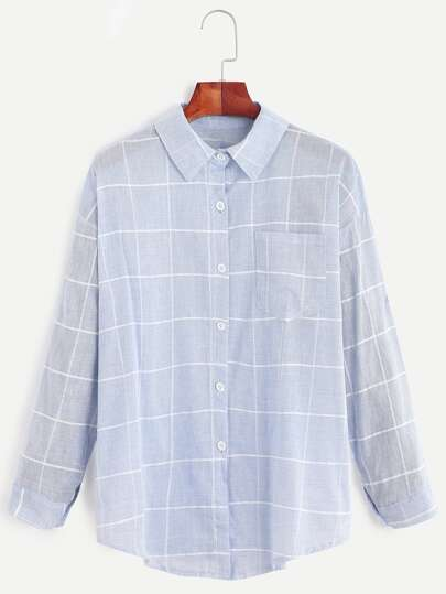 Blue Grid Drop Shoulder Pocket Shirt