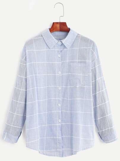 Grid Print Pocket Curved Hem Shirt