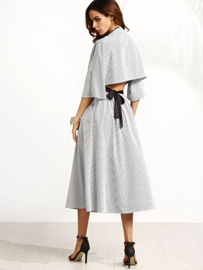 Grey Striped Contrast Belt Open Back Dress