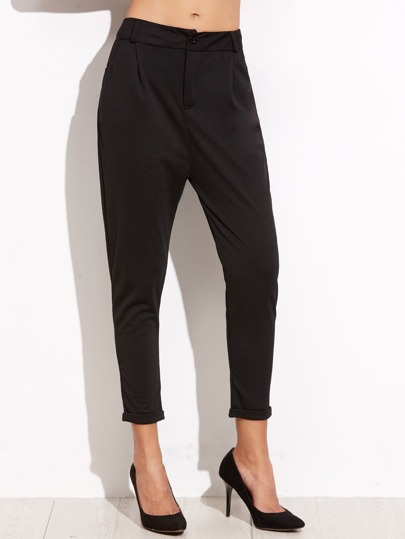 Black Straight Leg Cuffed Pants