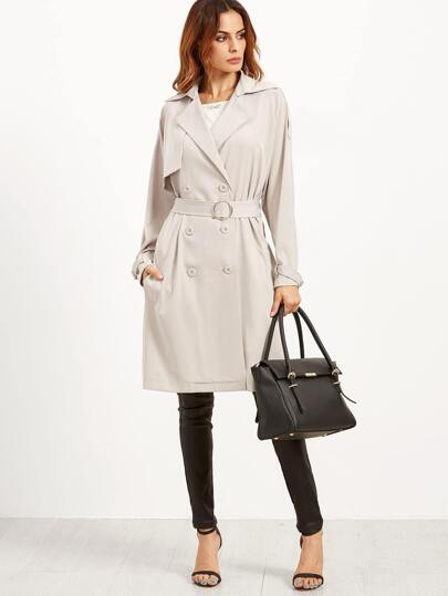 Apricot Belted Double Breasted Layered Trench Coat