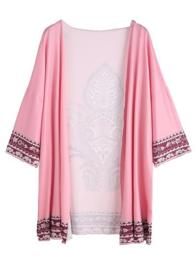 Vintage Print Drop Shoulder Kimono