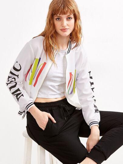 White Music Print Striped Hem Jacket