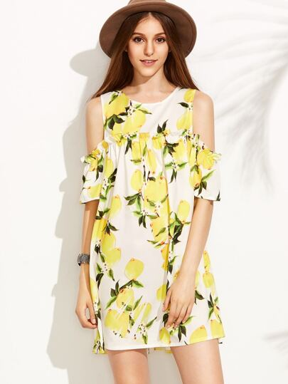 Lemon Print Cold Shoulder Buttoned Keyhole Dress