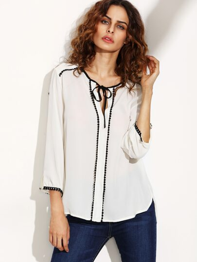 White Tie Neck Contrast Lace Trim Blouse