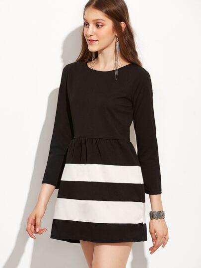 Black White Color Block A Line Long Sleeve Dress