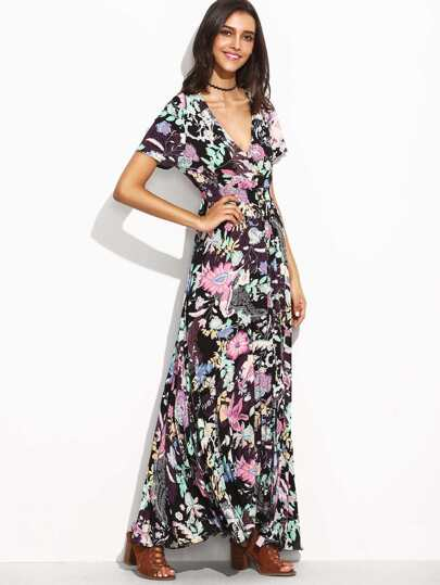Florals Deep V Neck Elastic Waist Button Front Dress
