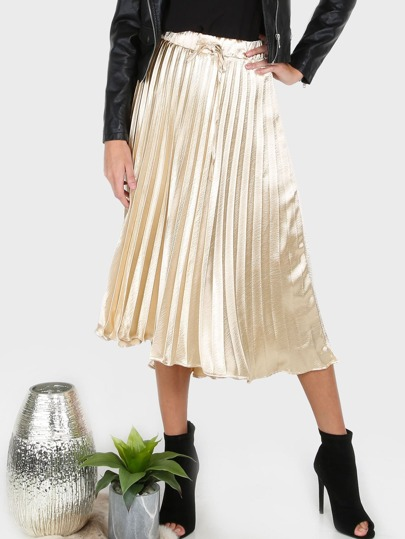 Pleated Metallic Midi Skirt GOLD