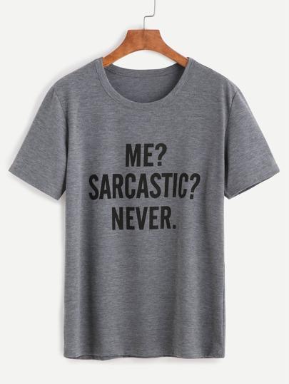 Camiseta con estampado letras - gris