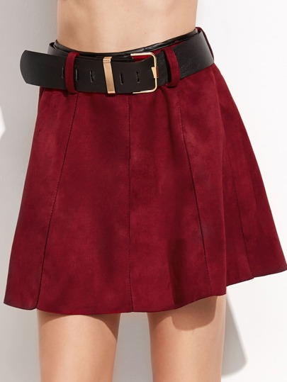 Burgundy Suede A-Line Skirt With Belt