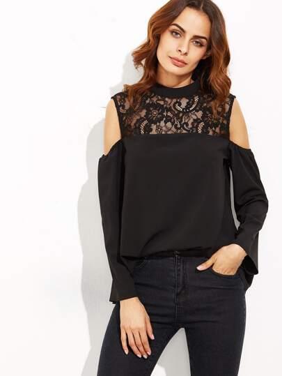 Black Lace Illusion Neckline Open Shoulder Top