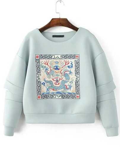Light Blue Embroidered Drop Shoulder Cut Out Sweatshirt