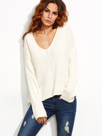 White V Neck Chevron Knit Dolman Sleeve Sweater