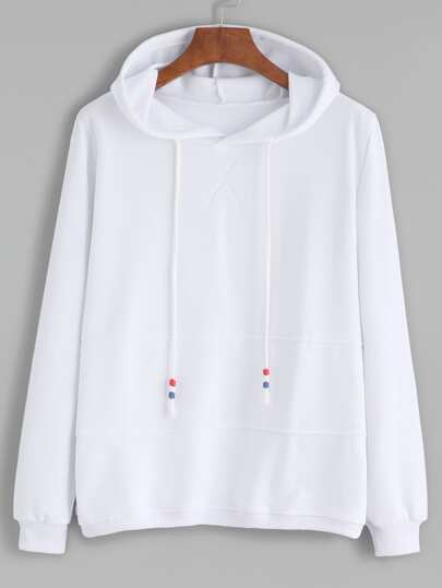 White Contrast Drawstring Hooded Sweatshirt