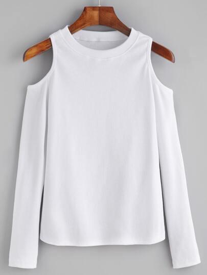 Camiseta de punto con hombros al aire - blanco