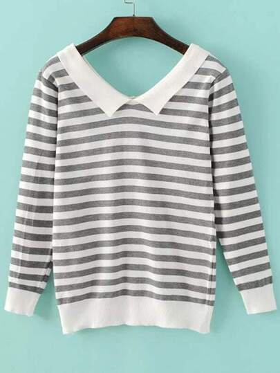 Grey Chelsea Collar Striped Knitwear