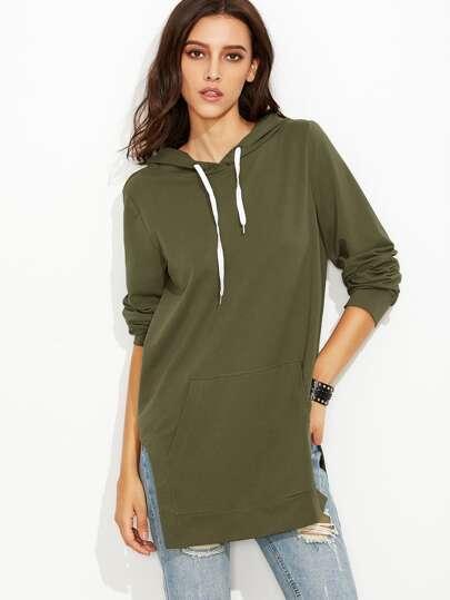 Olive Green Side Slit Hooded Sweatshirt With Pocket