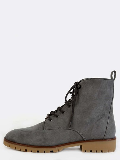 Lace Up Suede Ankle Boots GREY