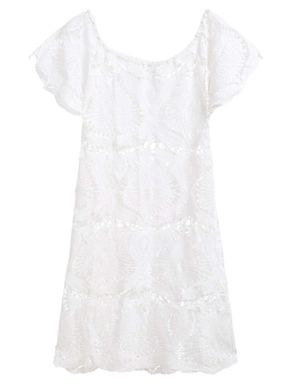 White Boat Neck Crochet Hollow Out Dress