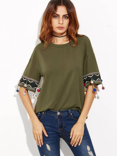 Olive Green Drop Shoulder Embroidered T-shirt With Pom Pom Detail