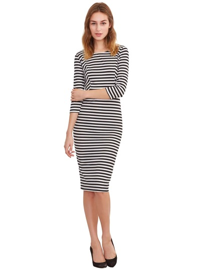 Elbow Sleeve Striped Fitted Dress