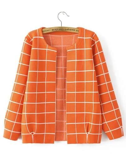 Orange Grid Open Front Cardigan
