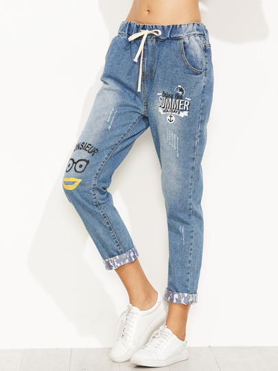 Jeans Stampa Lettere Con Coulisse - Blu