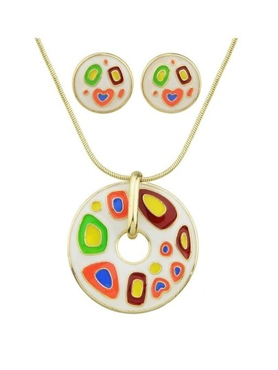 White Enamel Geometric Pattern Round Necklace Earrings Set
