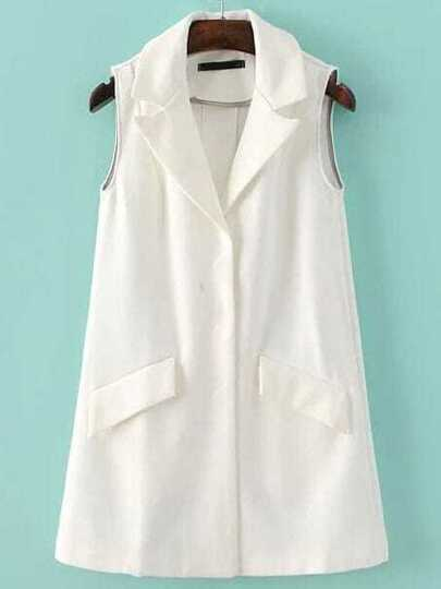 White Hidden Button Shawl Collar Blazer Vest With Pockets