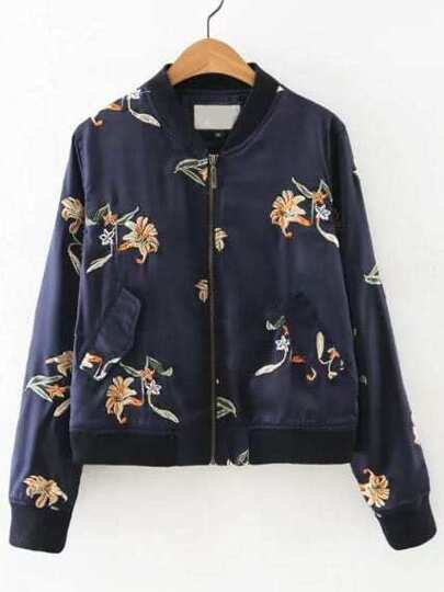Navy Floral Embroidered Bomber Jacket With Pockets