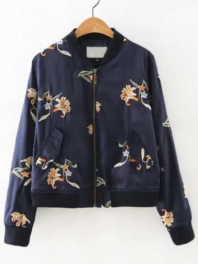 Flower Embroidered Bomber Jacket With Pockets